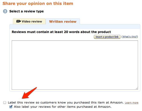 Amazon Write Review Options