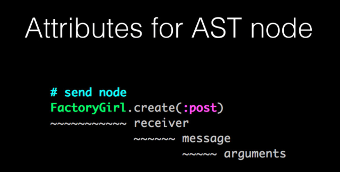 Example of attributes for AST node