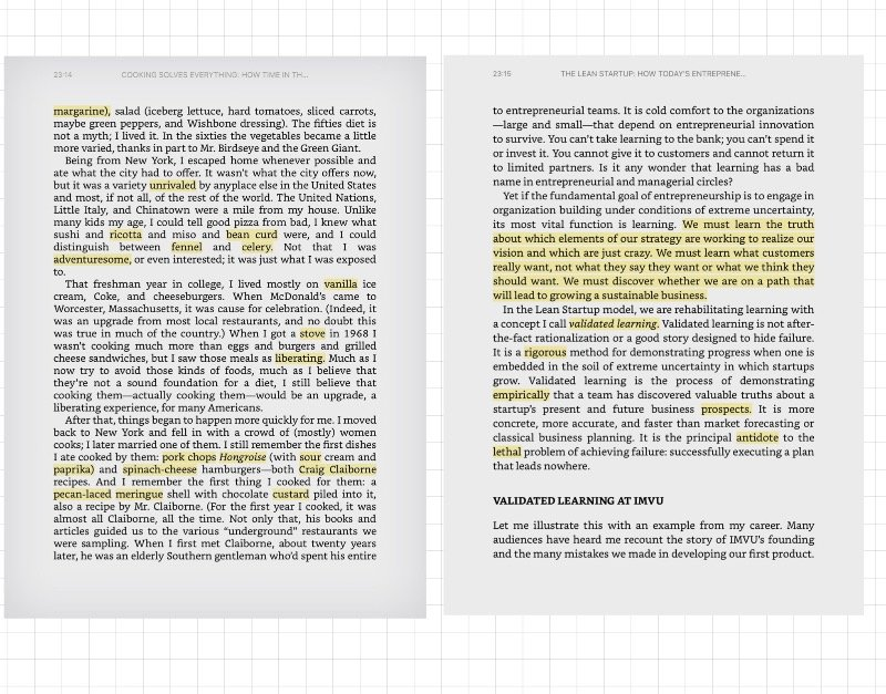 notes and highlights on books