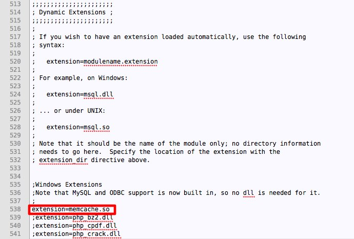 Add memcache extention to php.ini