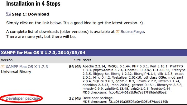 xampp develop package for mac
