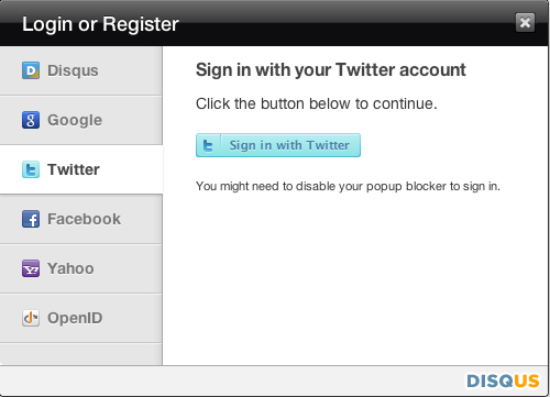 Disqus Login with Twitter, Facebook, etc.